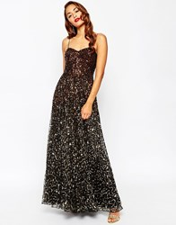 Asos Red Carpet 1 Scattered Gold Ombre Embellished Maxi Dress Black
