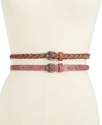 Styleandco. Style Co. 2 For 1 Braided Shimmer Skinny Belts Only At Macy's Wine Cognac