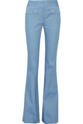 Adam By Adam Lippes Stretch Cotton Chambray Bootcut Pants Light Blue