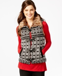 G.H. Bass And Co. Faux Fur Trim Printed Vest Black Combo