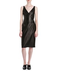 Loewe Sleeveless Napa Leather Bustier Dress Black