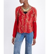 Free People Firecracker Chiffon Top Red