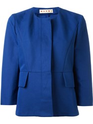Marni Three Quarter Length Sleeve Blazer Blue