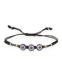 Pippo Perez Pull Cord Bracelet With Black And White Diamond Fatima Eye Stations