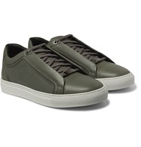 Brioni James Leather Sneakers Gray