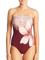 Carmen Marc Valvo Guilded Garden Bandeau One Piece Swimsuit Gilded Garden Plum