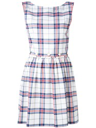 Maison Kitsune Checked Flared Dress Women Cotton 38 White