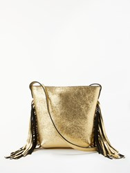 And Or Mia Tassel Leather Bucket Bag Gold