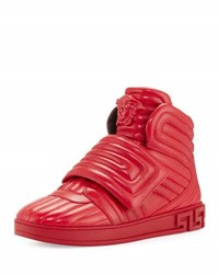 Versace Aros Men's Quilted Leather High Top Sneaker Geranium Red