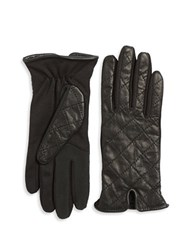 Lord And Taylor Quilted Leather Tech Gloves Black