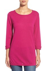 Women's Caslon Cuff Sleeve Cotton Blend Knit Tunic Pink Plumier