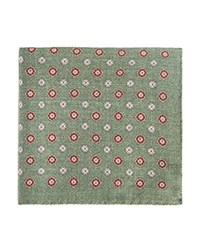 Bloomingdale's The Men's Store At Medallion Print Pocket Square Green Brown