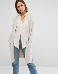 New Look Longline Pocket Cardigan Oatmeal Beige