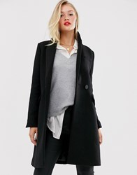 Mango Double Breasted Coat In Black