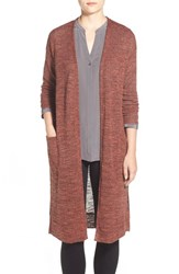 Women's Gibson Long V Neck Open Front Cardigan Rust