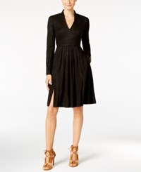 Catherine Malandrino Faux Suede Fit And Flare Dress Black Bird
