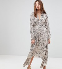 Lily And Lionel Exclusive Plunge Front Maxi Dress Grey