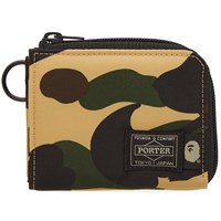 A Bathing Ape X Porter 1St Camo Mini Wallet Yellow