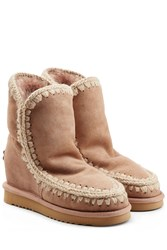 Mou Eskimo Wedge Short Sheepskin Boots Camel