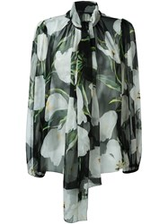 Dolce And Gabbana Tulip Print Sheer Blouse Black