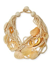 Multi Strand Wood And Mother Of Pearl Necklace Golden Women's Gold Viktoria Hayman