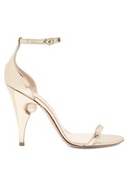 Nicholas Kirkwood Penelope Pearl Embellished Leather Sandals Gold