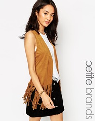 New Look Petite Suedette Fringed Waistcoat Tan