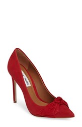 Steve Madden Women's Token Pointy Toe Pump Red Nubuck Leather