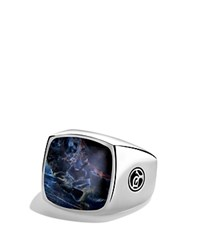 David Yurman Exotic Stone Signet Ring With Pietersite Silver Blue