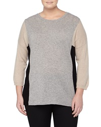Neiman Marcus Cashmere Colorblock Pullover Heather Gray