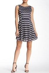 Jump Metallic Chevron Skater Homecoming Dress Blue