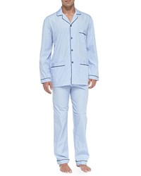 Neiman Marcus Long Sleeve Cotton Pj Set Blue