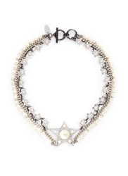 Venna Crystal Faux Pearl Star Chain Necklace White Metallic