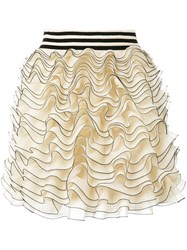 Alexander Mcqueen Ruffled Mini Skirt Nude Neutrals