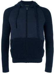 Z Zegna Panelled Zipped Hoodie Blue