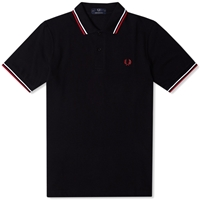 Fred Perry Original Twin Tipped Polo Black White And Red