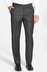 Men's Big And Tall Nordstrom Flat Front Solid Wool Trousers Charcoal
