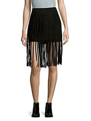 Mcq By Alexander Mcqueen Solid Leather Fringe Skirt Black