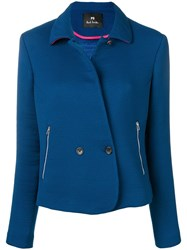 Paul Smith Ps By Double Breasted Fitted Jacket Blue