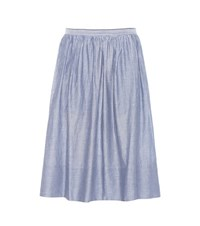 Vince Striped Cotton Skirt Blue