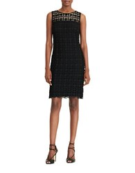 Lauren Ralph Lauren Petite Sleeveless Geometric Lace Sheath Dress Black White