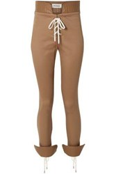 Monse Lace Up Leather Trimmed Cotton Blend Twill Skinny Pants Sand