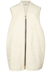 Lanvin Ivory Quilted Silk Gilet