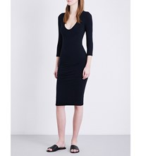 James Perse Ruched Fitted Cotton Jersey Dress French Navy