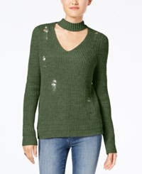 Almost Famous Juniors' Ripped Choker Sweater Olive