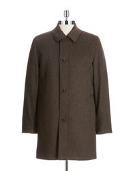 Black Brown Tweed Wool Coat Brown
