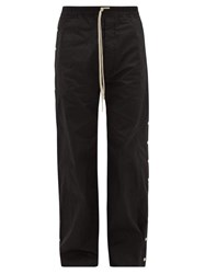 Rick Owens Drkshdw Snap Button Cotton Ripstop Trousers Black