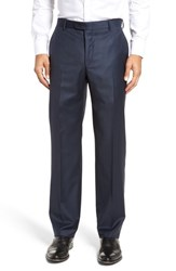 Hickey Freeman Men's Big And Tall Flat Front Solid Wool Trousers Navy Sharkskin