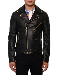 Versace Leather Biker Jacket Black