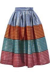 House Of Holland Tequila Striped Lame Midi Skirt